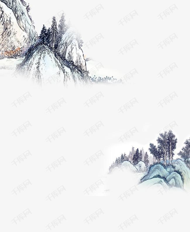 中国风水墨,群山,山水
