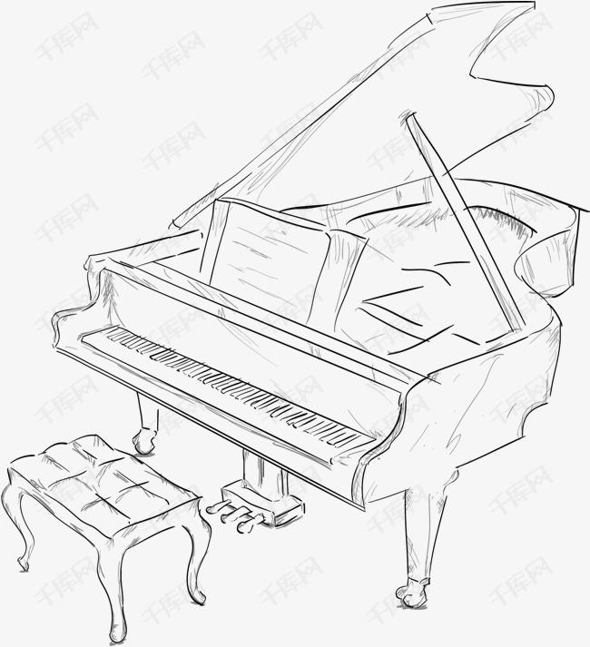 手绘钢琴素材图片免费下载 高清psd 千库网 图片编号7995683