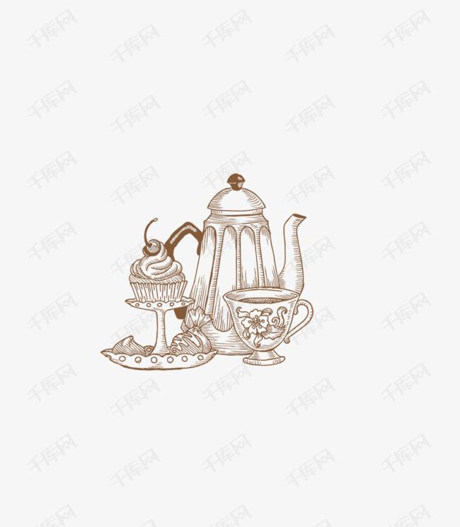 手绘美食茶壶创意网的素材免抠素描蛋糕茶壶茶杯茶具创意网