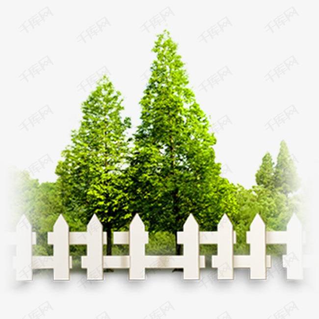清新栅栏里的大树