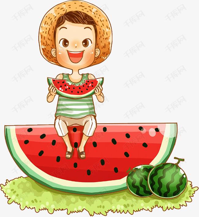 卡通男孩坐在西瓜上吃西瓜插图