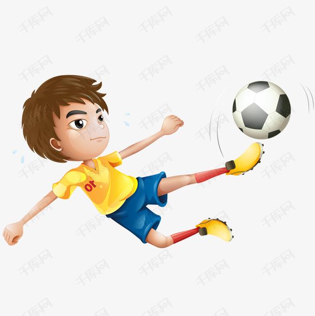 矢量卡通踢足球的运动员