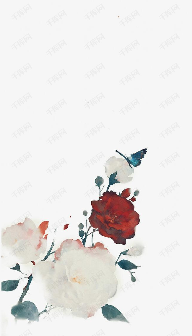唯美古风手绘插画的素材免抠中国风彩色水墨画水彩画风景落花流水