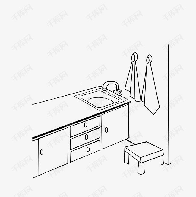 厨房一角简笔画素材图片免费下载 高清psd 千库网 图片编号9325625