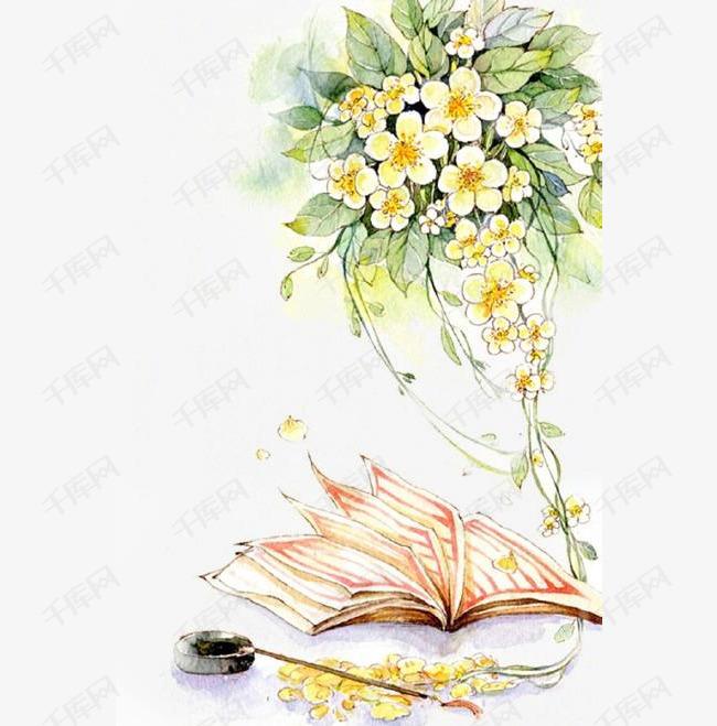 唯美古风手绘插画的素材免抠黄色花卉中国风彩色水墨画水彩画风景落