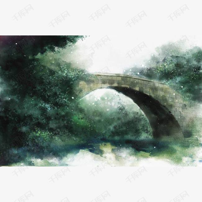 唯美古风手绘插画的素材免抠桥梁中国风彩色水墨画水彩画风景落花流