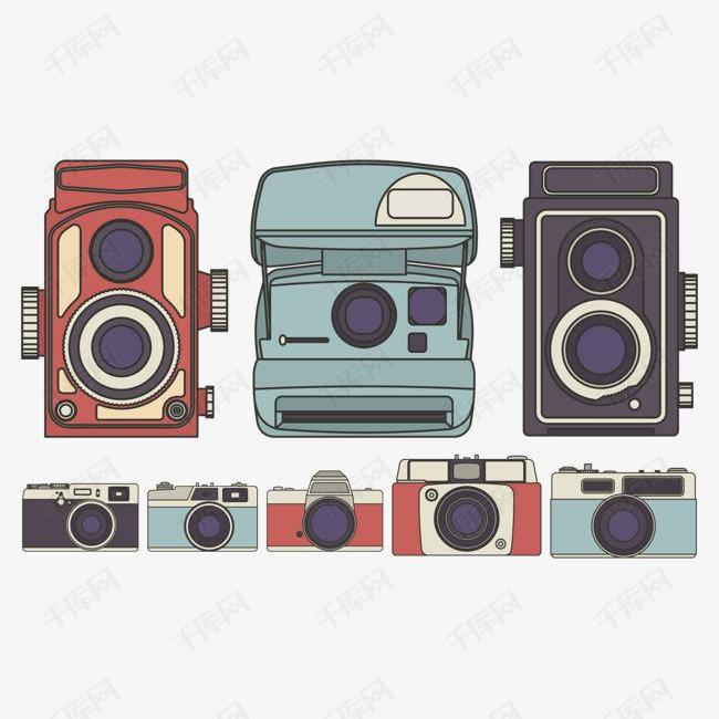 手绘矢量可爱相机素材图片免费下载 高清装饰图案psd 千库网 图片编号6508817
