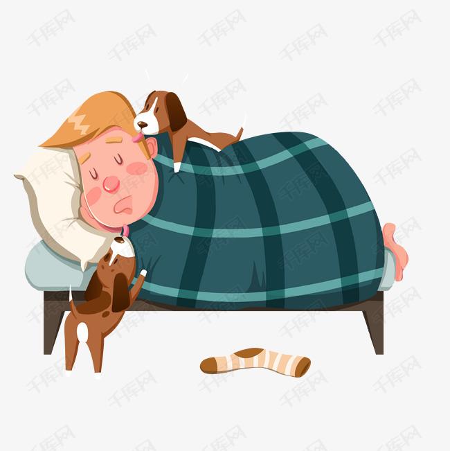 矢量手绘睡懒觉小男生的素材免抠矢量小狗袜子熟睡手绘睡醒休息国际睡眠日时尚创意卡通免抠png