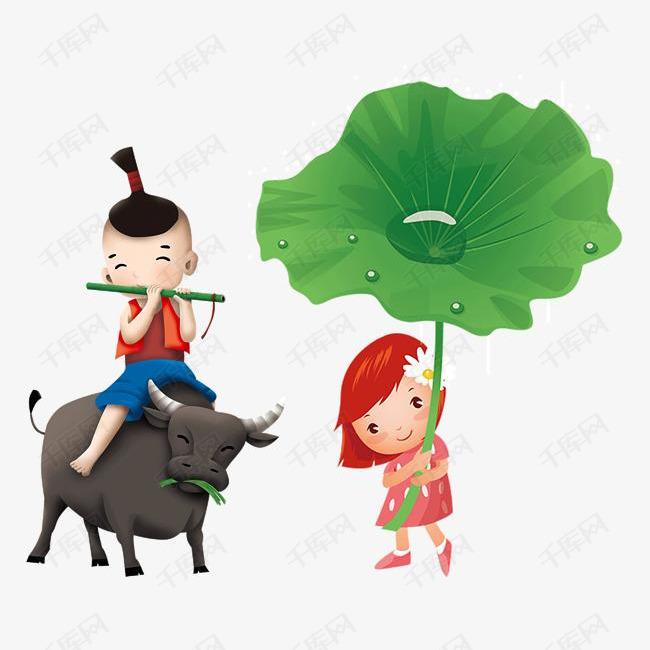 卡通手绘牧童骑牛童趣清明节素材图片免费下载 高清psd 千库网 图片