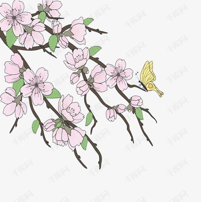 美观手绘樱花树免扣素材