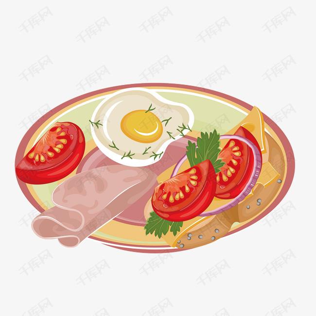 手绘早餐的素材免抠手绘早餐一盘早餐西红柿片培根煎蛋洋葱奶酪片