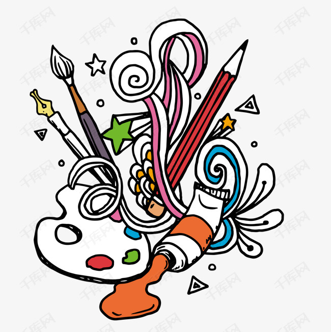 卡通创意绘画颜料矢量图图片