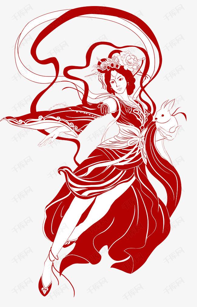 中秋节红色中国风嫦娥奔月剪纸古风素材图片免费下载 高清psd 千库网 图片编号9832470