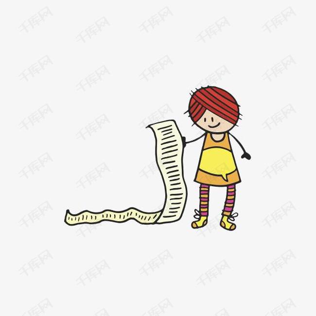 手拿长长购物清单的卡通女性人物图片