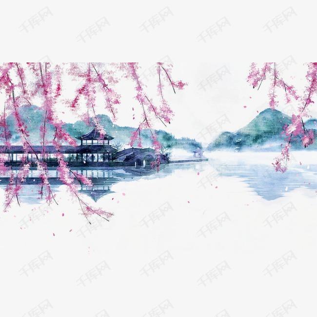 唯美古风手绘插画的素材免抠水墨丹青湖面亭台中国风彩色水墨画水彩