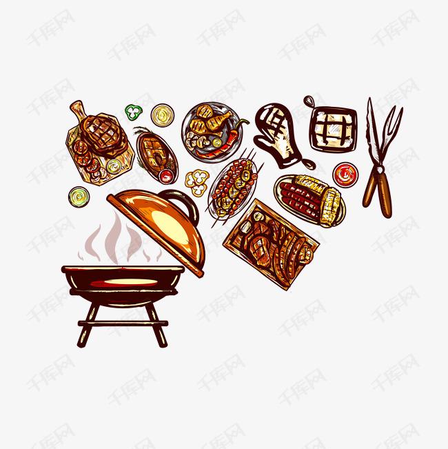 矢量手绘复古烧烤图标