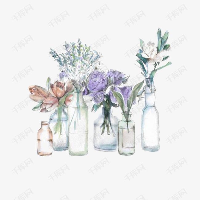 手绘插花的素材免抠花瓶手绘花卉满天星-手绘插花素材图片免费下载