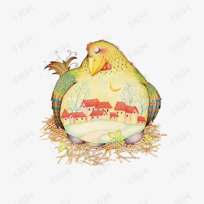 手绘母鸡插画素材图片免费下载 高清装饰图案png 千库网 图片编号4561484