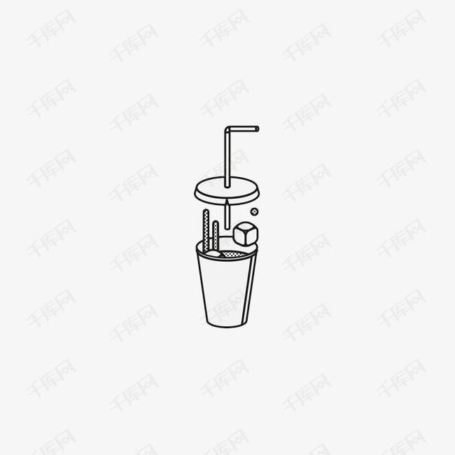 手绘饮料纸杯的素材免抠国外创意设计矢量插图黑色线条杯子