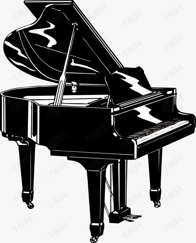 手绘钢琴的素材免抠手绘钢琴黑白乐器-手绘钢琴素材图片免费下载 高