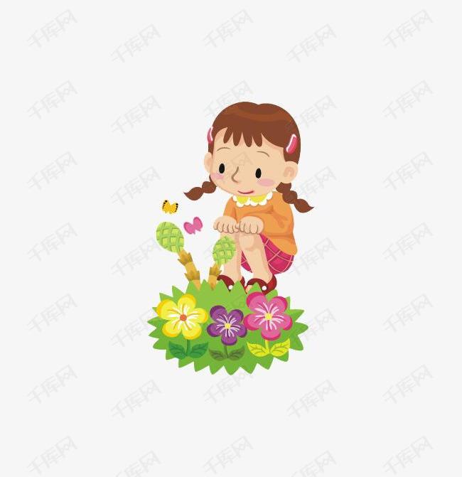 免抠卡通女孩观察植物素材图片免费下载_高清png_千库图片