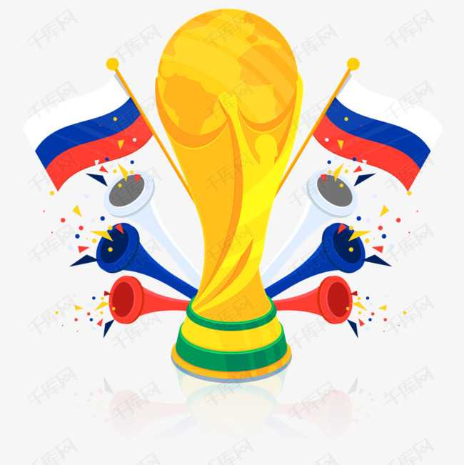 卡通足球世界杯奖杯矢量素材