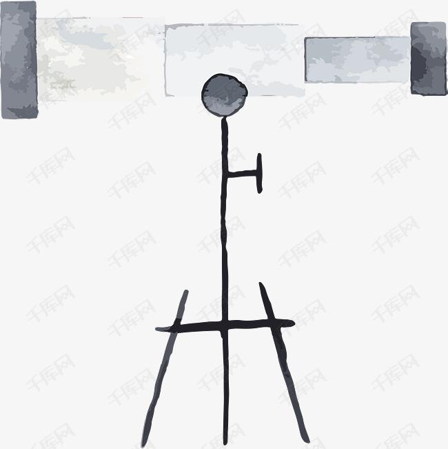 水彩手绘天文望远镜