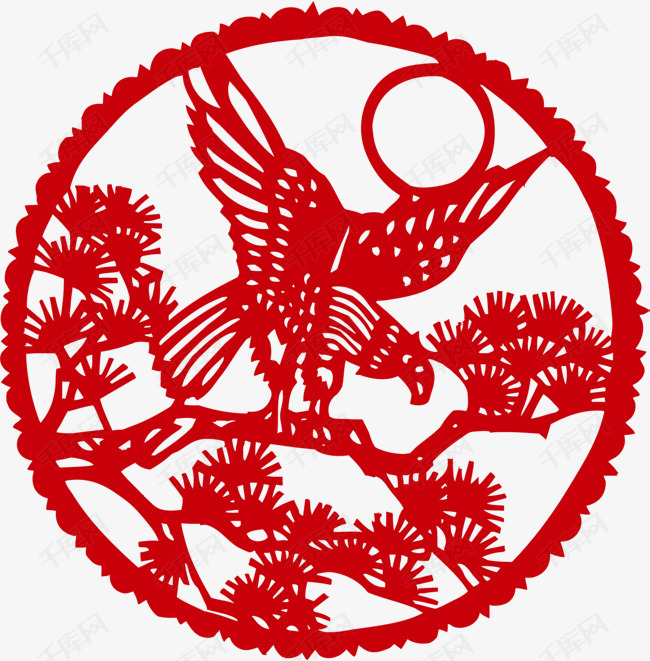 新年红色窗花剪纸