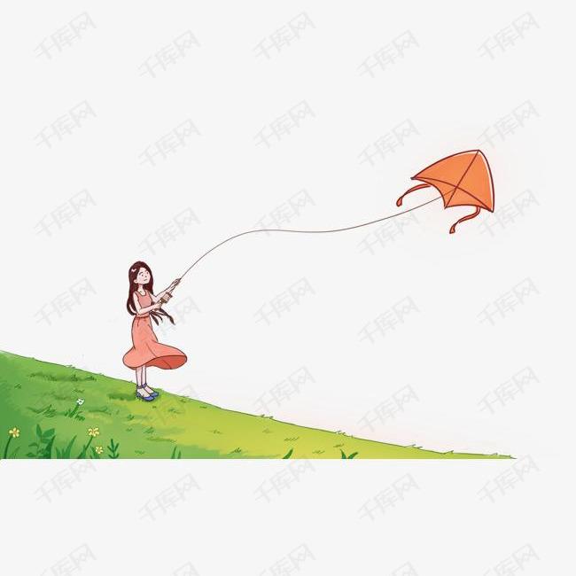 手绘夏日草地放风筝的小女孩插画素材图片免费下载 高清png 千库网 图片编号10338089