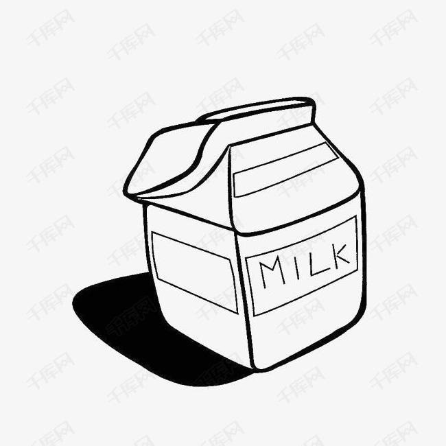 牛奶盒手绘简笔画的素材免抠黑白简笔牛奶盒黑白画手绘卡通牛奶乳制品包装盒牛奶包装盒子手绘牛奶盒