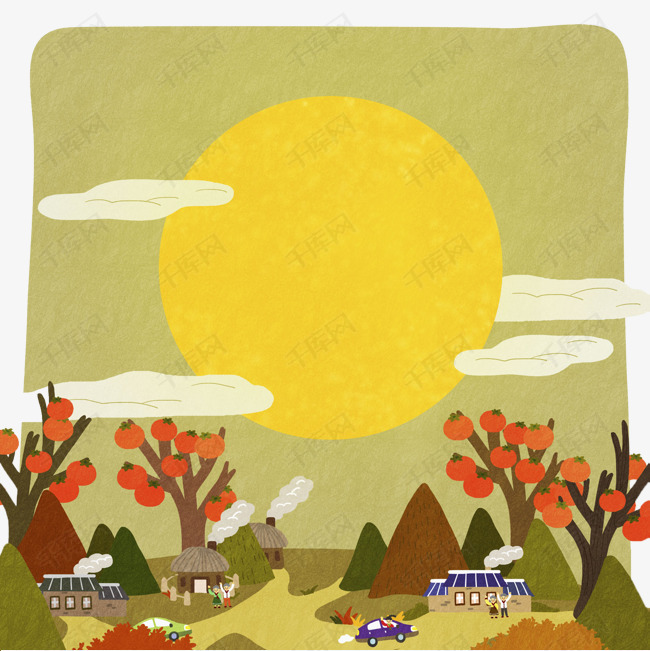 手绘柿子树素材图片免费下载 高清png 千库网 图片编号8782030