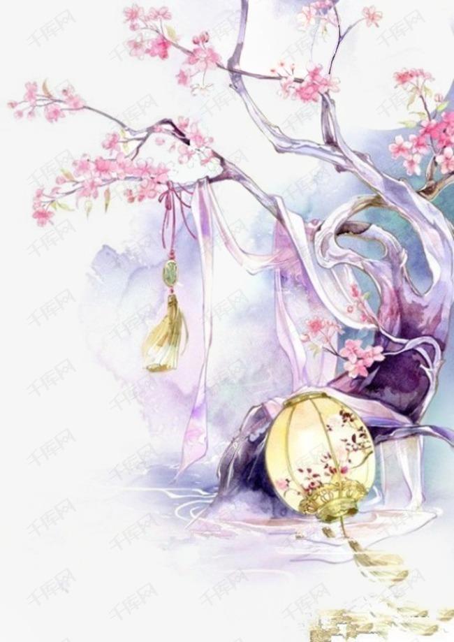 唯美古风水彩插画素材图片免费下载 高清卡通手绘png 千库网 图片编号3592895图片