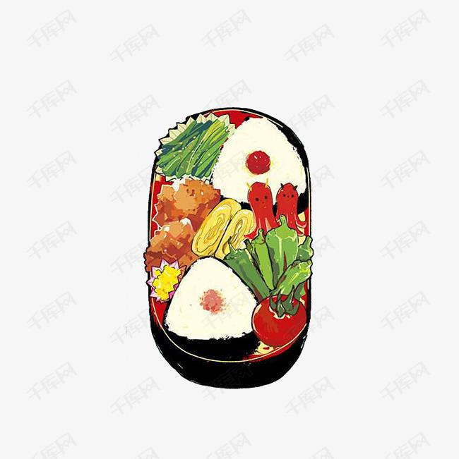 卡通手绘盒饭的素材免抠卡通盒饭卡通便当卡通插画好看的美食香肠鸡蛋卷西红柿