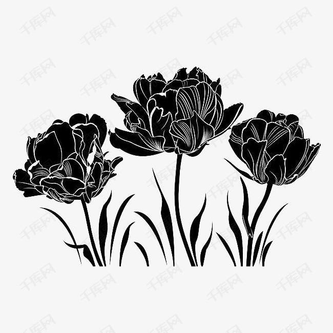 黑色手绘花卉的素材免抠黑色花丛手绘花卉线描花矢量图植物线条手绘图片