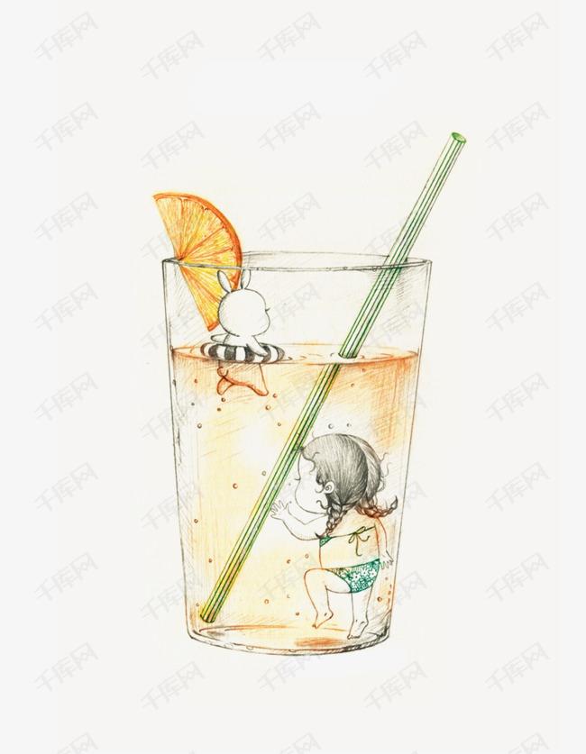手绘水杯的素材免抠创意手绘婴儿手绘创意水杯手绘水杯游泳png手绘免费素材