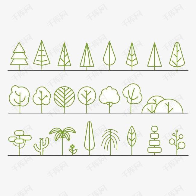 手绘简笔画树木合集素材图片免费下载 高清png 千库网 图片编号9211749