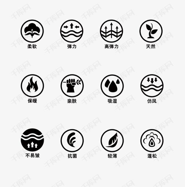服装面料图   服装功能图标 图标