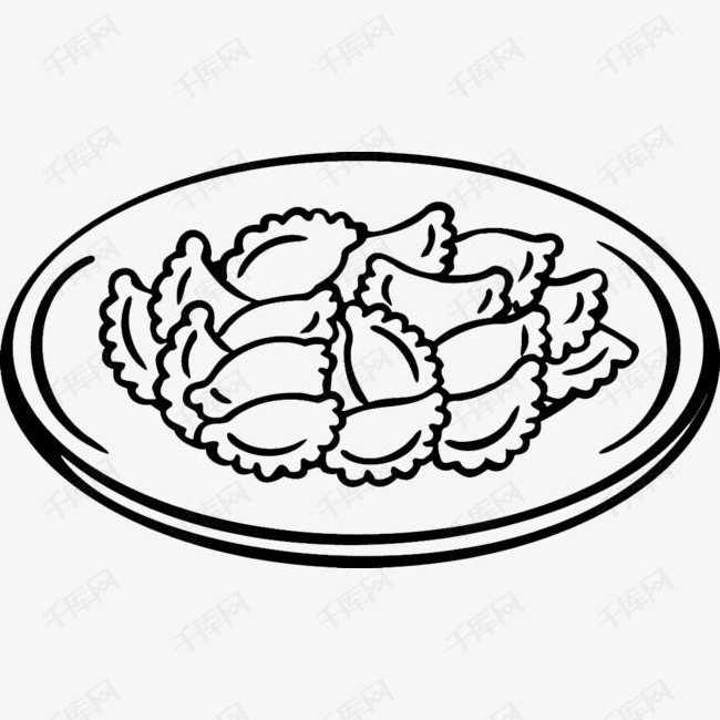 包饺子情景手绘简笔画_第一板报网