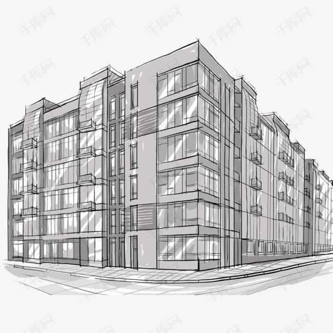 手绘素描风格楼房建筑简笔画素材图片免费下载 高清png 千库网 图片编号9075419