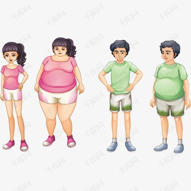 减肥卡通人物矢量图的素材免抠减肥运动瘦身女性男性健康卡通人物彩