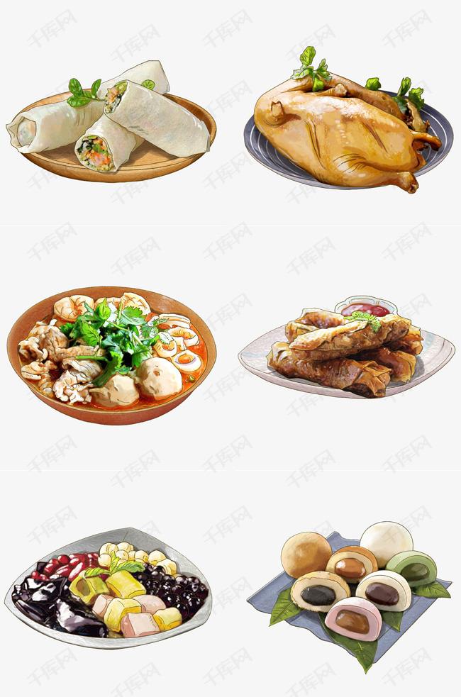 手绘卡通闽南特色美食小吃组合素材图片免费下载 高清psd 千库网 图片编号9833946