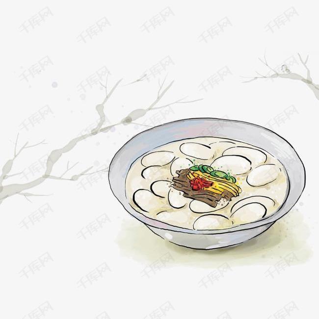 一碗汤圆手绘的素材免抠汤圆元宵碗手绘小吃美食汤圆插画免抠素材