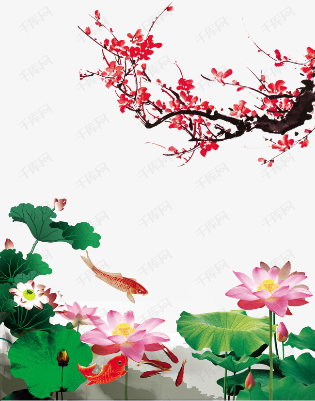中国风背景图片素材的素材免抠古典素材荷花中国画水墨梅花荷叶鲤鱼