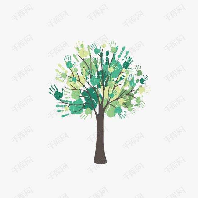 大树涂鸦墙绘的素材免抠清新大树涂鸦彩绘绿色创意墙绘简约背景墙墙