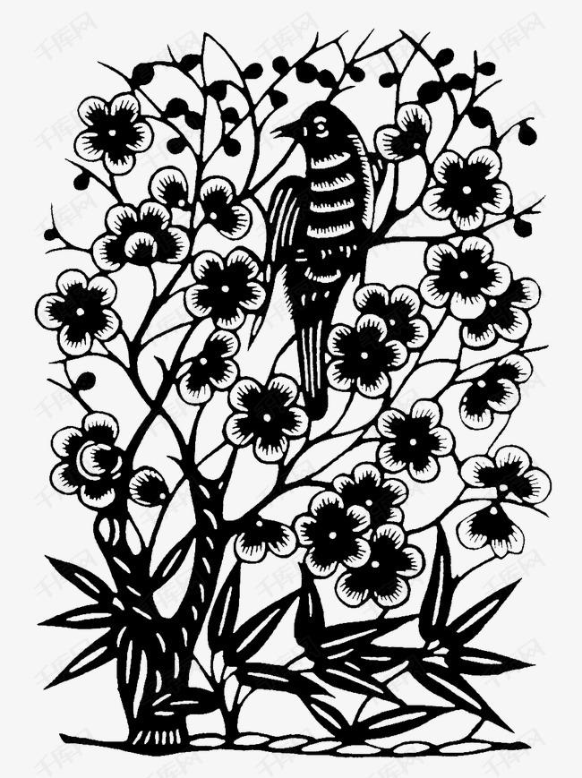 梅花竹叶小鸟图案