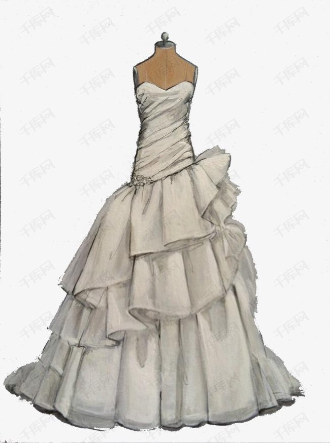 手绘礼服婚纱模特插画素材图片免费下载 高清卡通手绘png 千库网 图片编号4306595