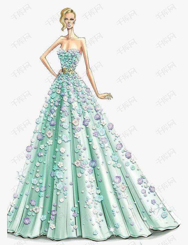 手绘婚纱素材图片免费下载 高清卡通手绘psd 千库网 图片编号3987234
