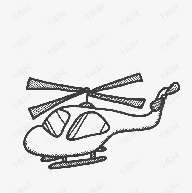机翅膀飞行飞翔天空简笔画手绘图-直升机简笔绘画图素材图片免费下