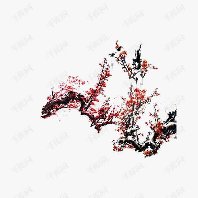 手绘梅树素材图片免费下载 高清psd 千库网 图片编号8618839