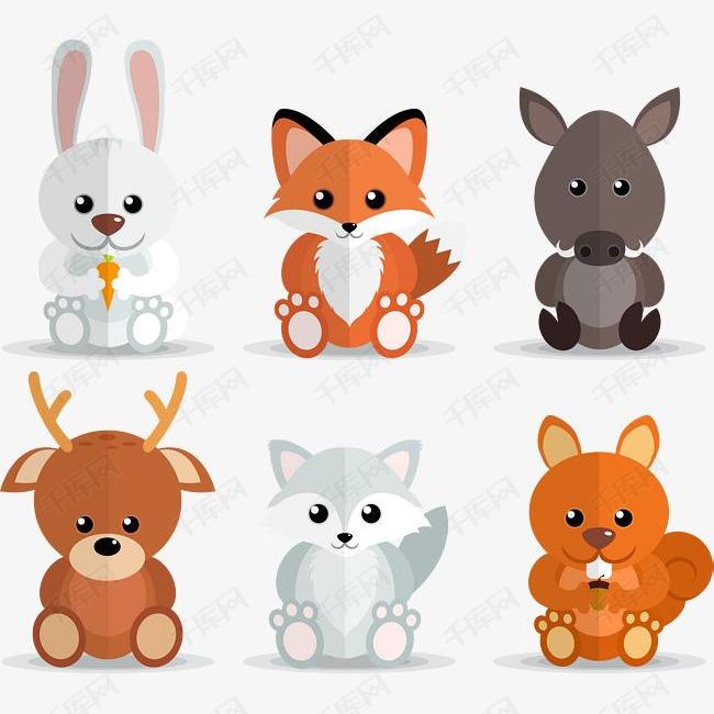 矢量手绘卡通小动物素材图片免费下载 高清psd 千库网 图片编号9683980